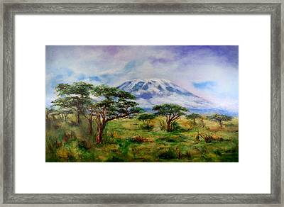 Mount Kilimanjaro Tanzania Framed Print by Sher Nasser