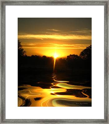 Mount Lassen Sunrise Gold Framed Print by Joyce Dickens