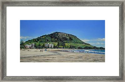 Mount Maunganui Beach 151209 Framed Print