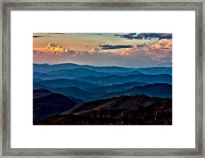 Framed Print featuring the photograph Mount Mitchell Sunset by John Haldane