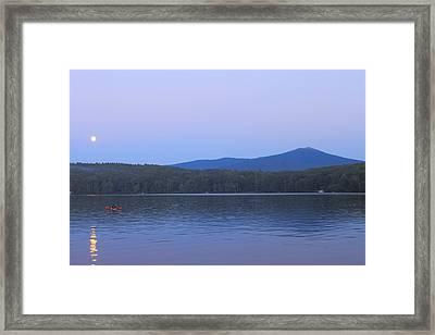 Mount Monadnock Full Moon Paddler Framed Print by John Burk