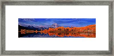 Mount Moran And Fall Color Grand Tetons Framed Print by Dave Welling