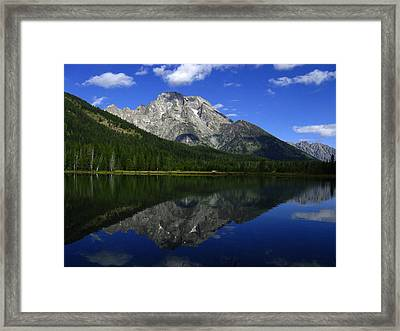 Mount Moran And String Lake Framed Print by Raymond Salani III