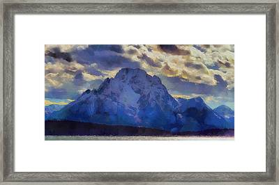 Mount Moran Painting Framed Print by Dan Sproul
