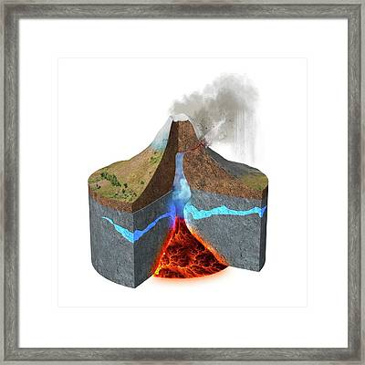 Mount Ontake Eruption Framed Print by Claus Lunau