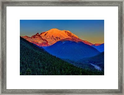 Mount Rainier Alpenglow Framed Print