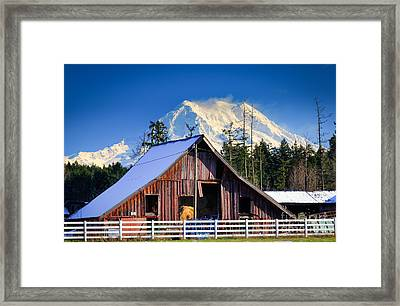 Mount Rainier And Barn Framed Print