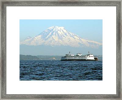 Mount Rainier And Ferry Framed Print