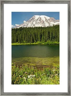 Mount Rainier And Reflection Lake Framed Print
