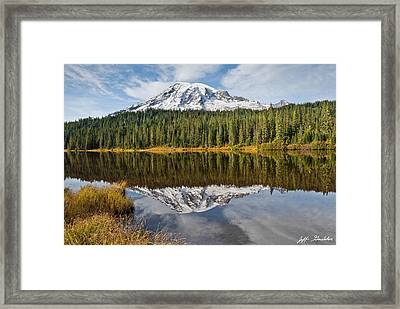 Framed Print featuring the photograph Mount Rainier And Reflection Lakes In The Fall by Jeff Goulden