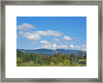 Mount Rainier As Viewed From The West Framed Print by Connie Fox