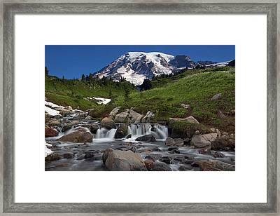 Framed Print featuring the photograph Mount Rainier At Edith Creek by Bob Noble Photography