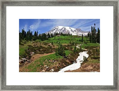 Framed Print featuring the photograph Mount Rainier At Paradise by Bob Noble Photography
