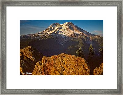 Framed Print featuring the photograph Mount Rainier At Sunset With Big Boulders In Foreground by Jeff Goulden