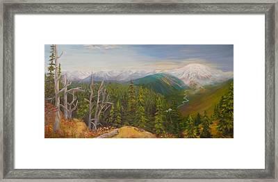 Mount Rainier  Early Morning Cascades Washington Framed Print