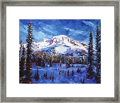 Mount Rainier Impressions Framed Print by David Lloyd Glover