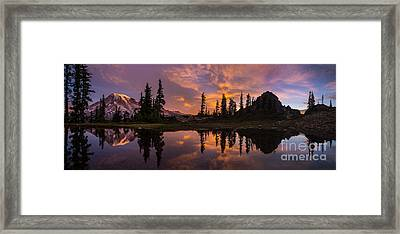 Mount Rainier Sunrise Reflection Glow Framed Print