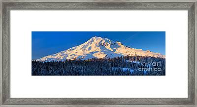 Mount Rainier Winter Evening Framed Print by Inge Johnsson