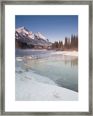 Mount Rundle And Creek In Winter  Framed Print