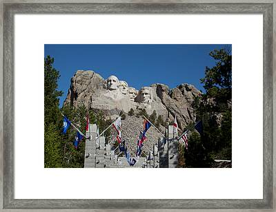 Mount Rushmore Avenue Of Flags Framed Print