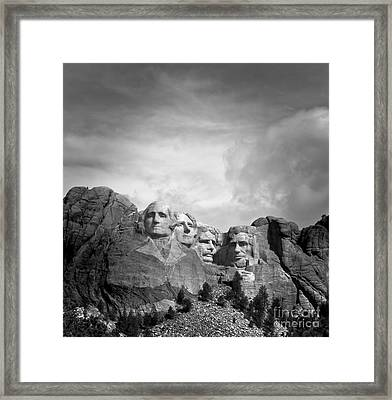 Mount Rushmore Bw Framed Print by Robert Frederick
