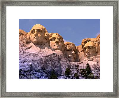 Framed Print featuring the photograph Mount Rushmore by Olivier Le Queinec