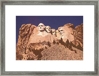 Mount Rushmore Red Framed Print by Art America Online Gallery