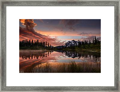 Mount Shuksan Fiery Sunrise Framed Print by Dan Mihai