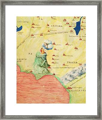 Mount Sinai And The Red Sea, From An Atlas Of The World In 33 Maps, Venice, 1st September 1553 Ink Framed Print by Battista Agnese