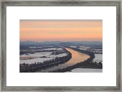 Mount Sugarloaf Connecticut River Winter Sunset Framed Print by John Burk