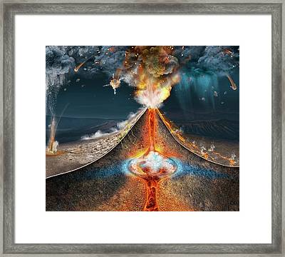 Mount Tambora Eruption Framed Print by Claus Lunau