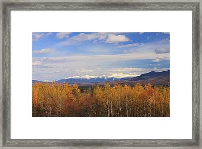 Mount Washington And Presidential Range Snow Foliage Framed Print