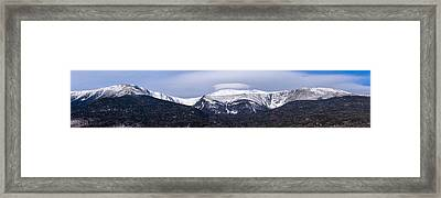Mount Washington And The Ravines Winter Pano Framed Print