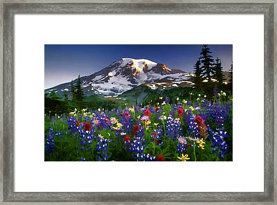 Mountain And Flowers Framed Print