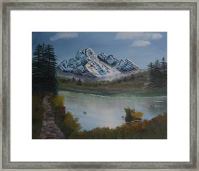 Framed Print featuring the painting Mountain And River by Ian Donley