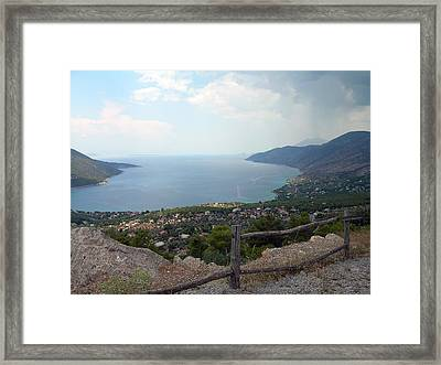 Mountain And Sea View In Greece Framed Print