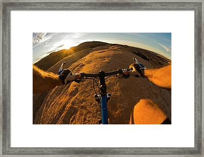 Mountain Biking In Moab, Utah Framed Print