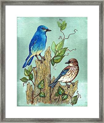 Framed Print featuring the painting Mountain Bluebirds by VLee Watson