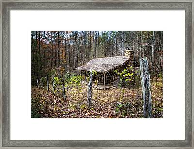 Mountain Cabin Framed Print by Debra and Dave Vanderlaan