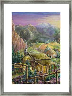Mountain Cabin Framed Print by Jan Mecklenburg