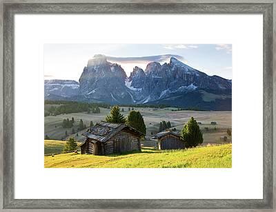 Mountain Cabins, Seiser Alm Sassolungo Framed Print by Peter Adams