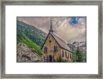 Mountain Chapel Framed Print by Hanny Heim