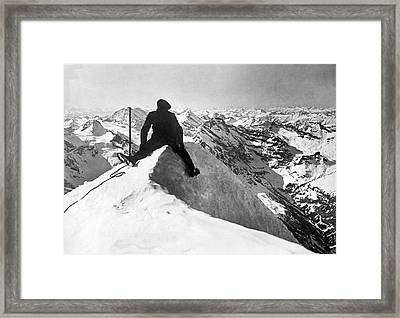 Mountain Climber On Jungfrau Framed Print