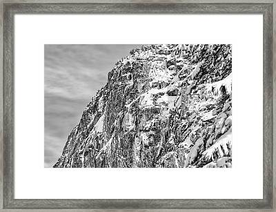 Mountain Covered In Snow Framed Print by Brandon Bourdages