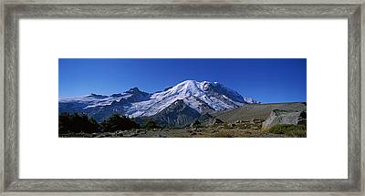 Mountain Covered With Snow, Mt Rainier Framed Print by Panoramic Images