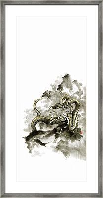 Mountain Dragon Sumi-e Ink Painting Dragon Art Framed Print by Mariusz Szmerdt