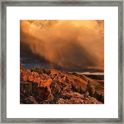 Mountain Drama Framed Print by Leland D Howard