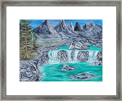 Mountain Falls Framed Print by Suzanne Surber