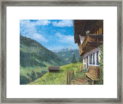 Mountain Farm In Austria Framed Print by Marco Busoni
