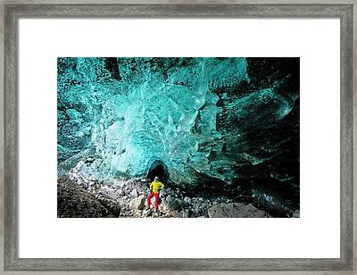 Mountain Guide Under A Glacier Framed Print